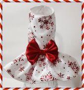 Vestido de perro de Navidad, vestido de princesa de copo de nieve, vestido de perro de vacaciones, vestido de perro de raso, vestido de perro pequeño, vestido de arnés   – Navidad