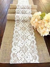 Décorations de table en toile de jute pour mariage rustique (58) – #decorations…
