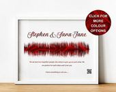 Will You Marry Me Present, Distinctive Marriage Proposal Memento Print with Sound Wave and QR Code, Personalised Engagement Items for Fiance,