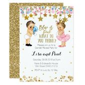 Baby Showers Twinkle Blue or Pink Gender Reveal invitation
