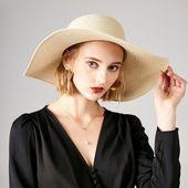 Fashion Women Wide Brim Floppy Foldable Bowknot Ribbon Straw Sun Hat Summer Beac… – Apparel Accessories