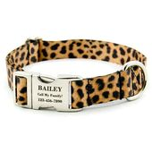 Collar de perro Leopard personalizado con hebilla de metal grabada con láser Placa de identificación, identificación de mascota, perfecto para perros grandes o perros pequeños   – Dogs