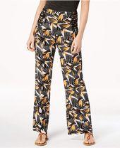 2d71c439d0c Junior s Plus-Size Printed Flare Leg Pant With Foldover Waistband - Blood  Orange Combo - CF12HRGAIGL