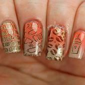 Stylish Coffee Nail Art Designs Sparkly Peach Ombre #squarenails #ombrenails #st…