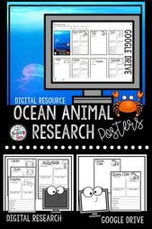 Digital Ocean Animals Research Guides for Elementary Students