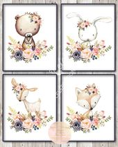 Boho Woodland Animal Set / Blush Pink Navy Gold / 8×10 / Floral / Baby Girl Nursery / Printable / Baby Shower Decor / Bedroom Wall Art – Drawing