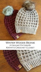 Crochet Beanie PATTERN – Winter Woods Beanie – Crochet Hat Pattern – Waffle Stitch Crochet Pattern – Fur Pompom Hat Pattern – DIY Beanie