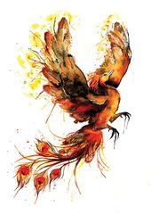 Giclee Print: Black Phoenix (Watercolour painting) fine art print