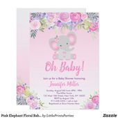 Pink Elephant Floral Baby Shower Invitation   Zazzle.com  – Babies and Baby Showers