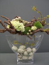 pâques décoration frais festif oeufs de pâques lièvre poussin caille jaune   – Ostern