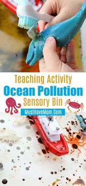 Ocean pollution sensory bin teaching activity for kids. Great educational activi…