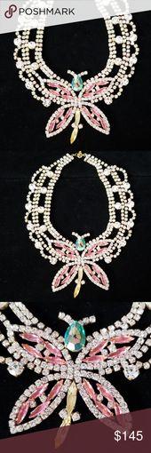 Collier papillon en verre de cristal tchèques