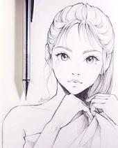 Zeichnung, Manga, Mädchen, gebundenes Haar, süß, kawaii Augen, … von Ladowska – Künstler