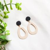 NEW – Modern and minimal every day statement earrings. Super thin and lightweight circle and oval shaped polymer clay earrings