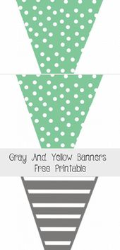 Gray and Yellow banners free printable – The Glitzy Pear #bannerApuntes #Travelb…