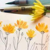 Watercolor flower petals with pen and ink stem and leaves…@ohn_mar_win on Inst… – painting