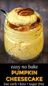 Gâteau au fromage à la citrouille sans cuisson (faible teneur en glucides)