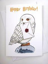 Harry Potter Karte, Hedwig Karte, Geburtstagskarte, lustige Karte, Grußkarte, H…
