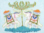 KUNSTDRUCK Happy Elephants Orange Tree Kunstdruck   – Illustration