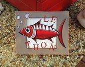Le thon Peinture acrylique Poisson Rouge Mer Déco