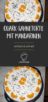 Tarta de crema de Quark con mandarinas   – Die besten Cheesecake & Käsekuchen Rezepte