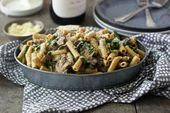 Mushroom, Goat Cheese, and Spinach Pasta Bake