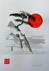 Unikat Mooseart Landschaft Zeichnung Aquarell auf Papier ca.21x30cm Original #ArtPaintings #ArtPaintingswatercolor – #21x30cm #aquarell