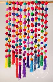 Pom Pom Girlande – Pompons / einfarbig Bommel Girlande / mexikanische Pom Pom Girlande in hellen Farben / home decor / Partei Dekor