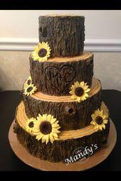 40 moderne rustikale Sonnenblumen-Hochzeits-Ideen   – Kuchen