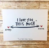 I love you this much card, Always and Forever, Anniversary card for boyfriend, Paper Anniversary Card, First Anniversary