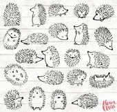 Igel Clipart – 22 Igel Doodle Clip-Art – Igel-Karte – Wald ClipArt – Wald-Einladung – Igel PNG – 91