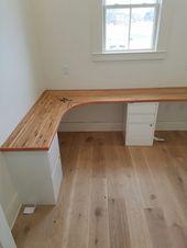 Butcher block desk top made from left over hardwood flooring. –  #block #butcher #desk #floor…
