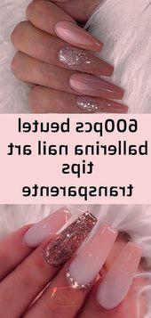 600pcs Beutel Ballerina Nail Art Tipps transparente natürliche falsche Schatulle …   – Nagel Ideen
