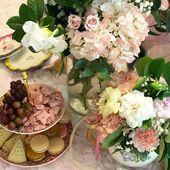 "Amanda ""Mandy"" Barkley on Instagram: ""Fresh cut gardenias and hydrangeas in teapots set the stage for tea party yummies! #partyplanners #sananto..."