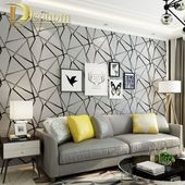 Dicke beflockte geometrische moderne gestreifte 3D Wallpaper für Wände Dekor H…