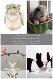 Hase Kaninchen Kranz Aquarellzeichnung 11 x 14 von SusanWindsor #hase kaninchen Hase Kaninchen Kranz Aquarell Malerei 11 x 14 Giclée-Druck Wald Tier …