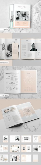 Plantilla de folleto / revista en CreativeMarket, A4, A5 – # A4 # A5 # en # folletos #creativemarket #portfolio # plantilla de boletín   – kleiderschrank