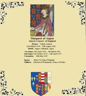 Margaret of Anjou was the Queen of England by marriage to King Henry VI from 144…