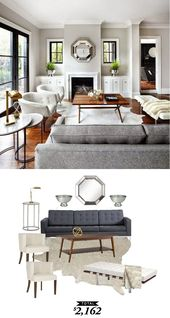 A bright and contemporary gray living room by The Design Co. recreated for $2,16…