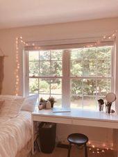 weiße Wände Lichterkette Schlafzimmer #lightchain #bedroom #walles