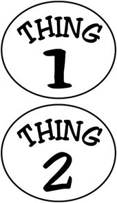 Printable Thing 1 Logo Thing 1 And Thing 2 Circles Iron On Transfer Dr Seuss Day Dr Seuss Crafts Dr Seuss Costumes