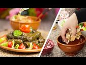 أطيب محشي ورق عنب بالزيت مع الفتوش المقرمش أطباق من المطبخ اللبناني اكسترا بنين Youtube In 2020 Food Meat Beef