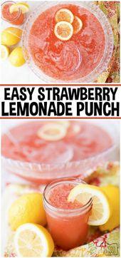 Strawberry Lemonade Punch ist ein einfaches und köstliches Partygetränk mit 3 Zutaten! Diese…