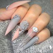 Schöne 3D Blume Stiletto Nägel Kunst; Blumen-Stiletto-Nägel; süßer Stiletto Nagel …   – Nails