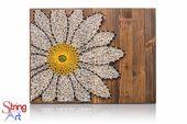 Daisy String Art Kit – France Kit de bricolage pour adultes comprend toutes les fournitures d'artisanat (fr) Daisy Wall Art – France Modèles d'art de cordes (en anglais) Cadeau de Noel