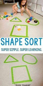 Super Simple Shape Sorting Activity – einfache Indoor-Aktivität; einfache Mathe-Aktivität – Jeena F.