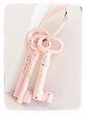 Pretty in Pink Vintage Shabby Chic -3 Cast Iron Skeleton Keys On Key Ring -Home Decor-Rustic -Summer Party-Country-Shabby Chic-Pastels