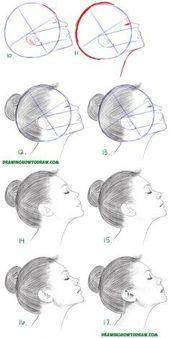 Erfahren Sie, wie Sie ein Gesicht aus der Seitenansicht zeichnen (weiblich / Mädchen / Frau