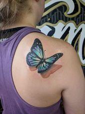 3D Schmetterling von Juan bei Virginia Class Tattoo (Manassas VA) gemacht –