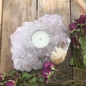 Amethyst Tealight Candle Holder~ Amethyst candle holder, witches altar tools, candle holder, Crystal